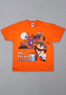 90s Vintage Looney Tunes Halloween T-Shirt Orange XL