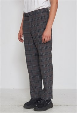 Vintage Grey Checkered Wool Trousers