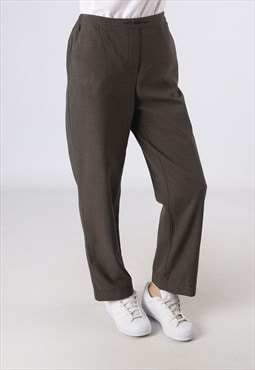 High Waisted Trousers Dog Tooth Wide Tapered UK 12 (DH3E)