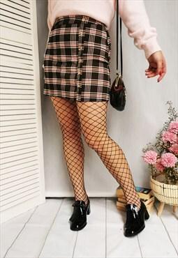 Vintage 00s tartan plaid brown mini skirt