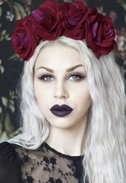 OPHELIA Claret Red Rose Flower Crown - Frida - Halloween
