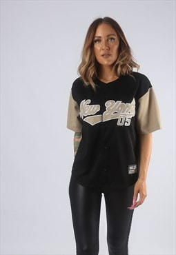 Vintage Baseball Sport Jersey Oversized Top UK 12 - 14 (GBJ)