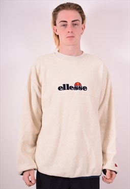 Ellesse Mens Vintage Fleece Jumper XL White 90s