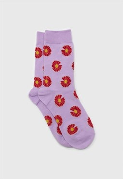 Lilac and red daisy print socks