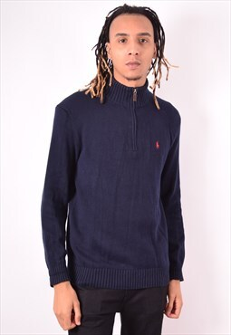 Polo Ralph Lauren Mens Vintage Jumper Sweater Small Blue 90s