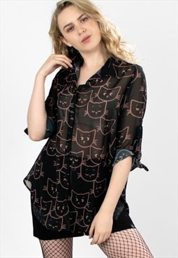 """Curiosity"" Semi Sheer Cat Pattern Blouse"