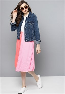 Pleated skirt in pink