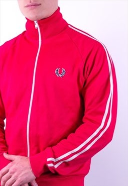Vintage Fred Perry Striped Jacket in Red