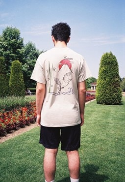 Sand Short Sleeved T-shirt With Japanese Garden Graphic