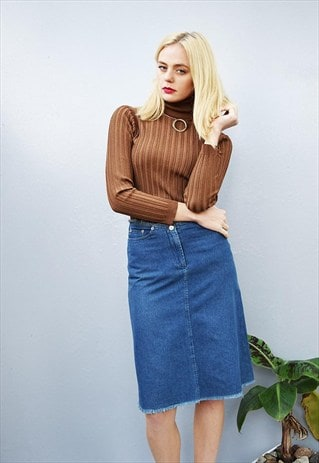 90'S RETRO RAW DENIM CLASSY HIGHWAISTED MIDI MOM'S SKIRT