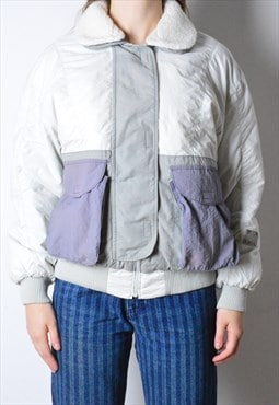 Vintage 90s White Grey Purple Jacket
