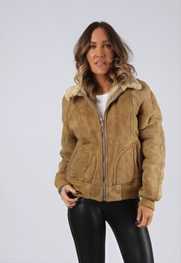 Sheepskin Suede Leather Shearling Coat UK 10 Small (LJ3I)