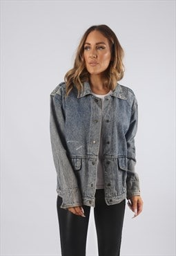 Vintage Denim Jacket Oversized Fitted Acid Wash UK 14 (9AQ)
