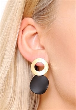 Black Gold Circle Hoop Earrings