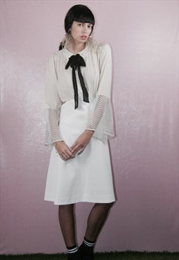 lilyNettle Dress -White Pussybow Tie dress
