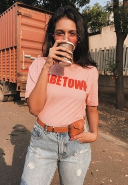 Half sleeves graphic babe town crop t-shirt in pink