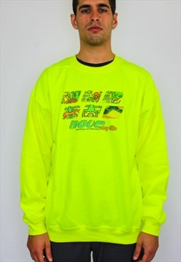 Move 98 oversized rave flyer sweater in neon green