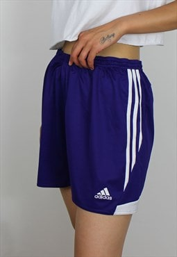 Vintage Adidas Shorts w Logo Front & 3 Stripes - Purple