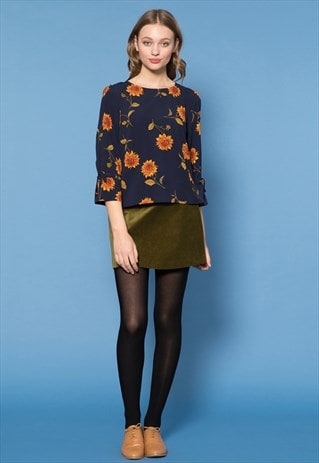 NAVY FLUTED CUFFS FLORAL PRINT TOP