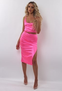 Neon Pink Stretch Satin Midi Co-Ord
