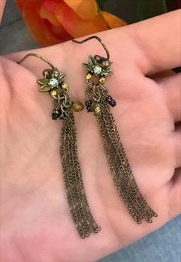 Bronze Flower Dangle Earrings