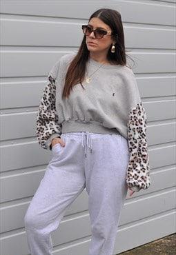 vntage 90's Ralph Lauren reworked leopard fleece slouch crop