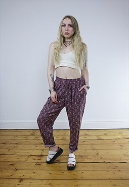 Vintage 90's Red Paisley Loose Hippie Trousers