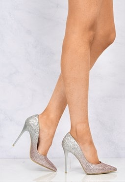Two Tone Glitter Court Shoe