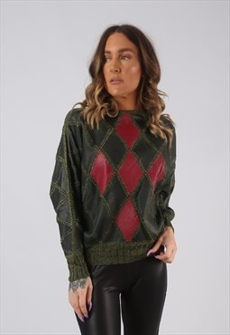 90's Leather Top Jumper Patchwork Knitted UK 10 (HKHU)