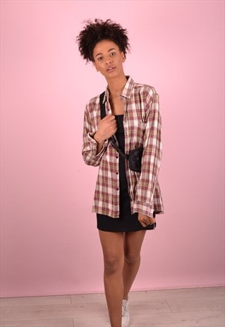 BEIGE CHECK FLANNEL SHIRT GRS1258