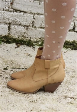 Pale Tan Cowboy Ankle Boots