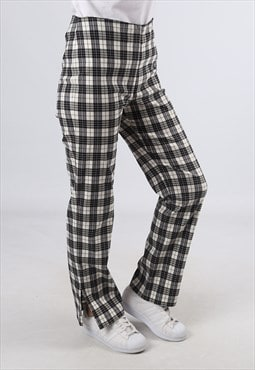 High Waisted Trousers Tartan Checked Straight UK 12 (GJ2F)