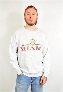 Vintage 90s True Vintage Grey Miami Print Sweater