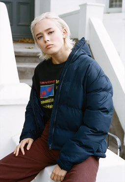 Puffer Jacket In Navy Blue With Woven Label Detailing