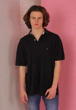 Black Tommy Hilfiger Vintage Polo T shirt
