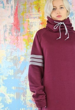 Oversized Sweat Dress maroon  funnel neck reflective stripes