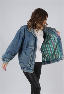 Denim Jacket Bomber Oversized Print Lined UK 14 (HK7S)