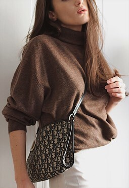 90's vintage brown wool turtleneck jumper