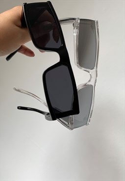 Silver Square Temple Lens Sunglasses