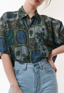 90s Rare Vintage Abstract Pattern Lightweight Shirt 16743