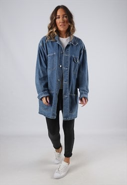 Denim Jacket Long Oversized Longline Vintage UK 18 (HWBT)