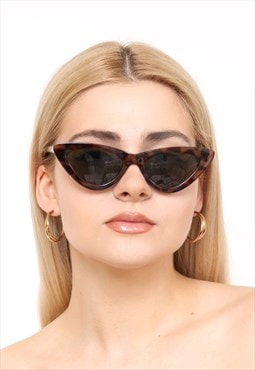 Tortoiseshell Thin Cat Eye Slim Sunglasses UV400