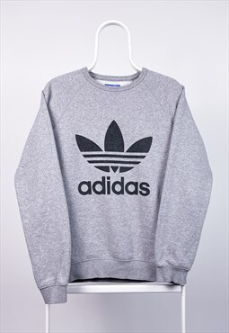 Vintage Adidas Sweatshirt Spell Out Grey Medium