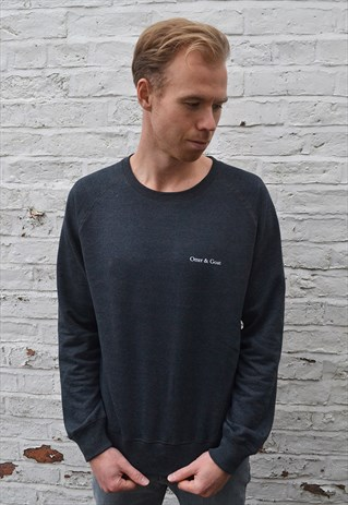 RECYCLED BRAND PRINT JUMPER - CHARCOAL