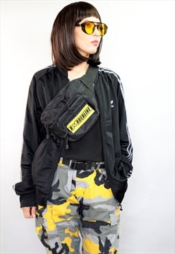 Unisex Utility yellow velcro patch bag - Bum bag