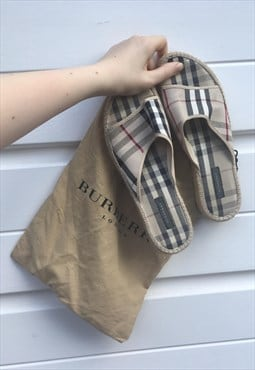 Womens Burberry sliders flip flops beige nova check shoes