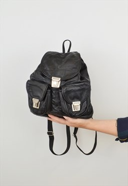 Drawstring Mini Backpack Black Patchwork Silver Clasp
