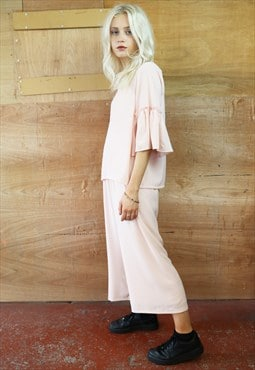 Barely There Pink Crop Pants & Frill Top Co-ordinates