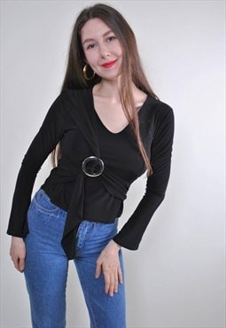 Women vintage black party long sleeve pullover blouse