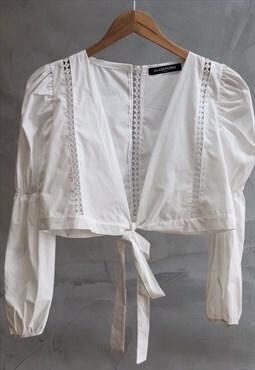 White crochet trim long sleeved crop top